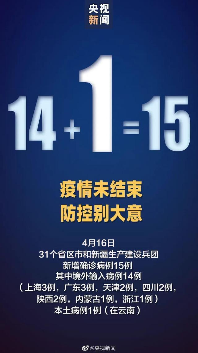 31省区市新增确诊15例,其中本土1例在云南